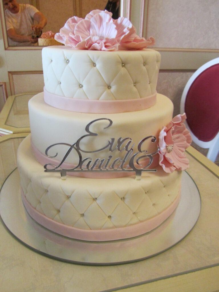 Hochzeitstorte pink / weiss